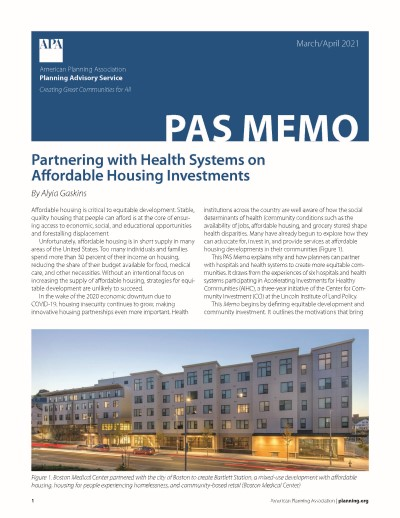 Cover of PAS Memo March-April 2021: Partnering with Health Systems on Affordable Housing Investments.