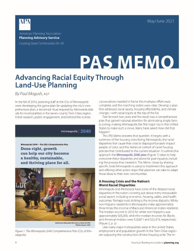 Cover of PAS Memo May-June 2021: Advancing Racial Equity Through Land-Use Planning