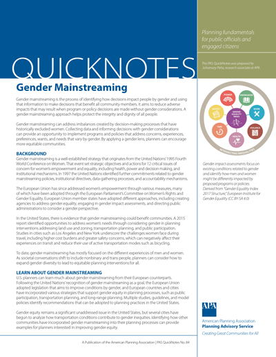 Cover of PAS QuickNotes 84: Gender Mainstreaming