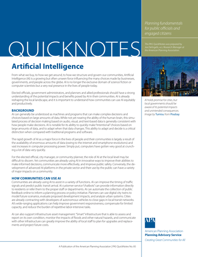 Cover of PAS QuickNotes 85: Artificial Intelligence