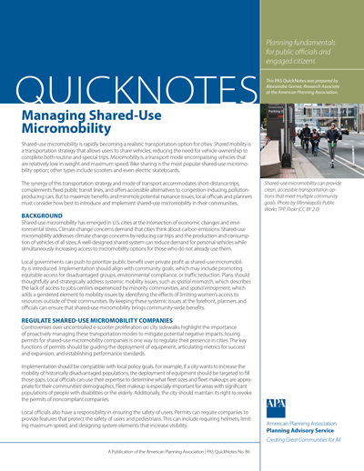 Cover of PAS QuickNotes 86: Managing Shared-Use Micromobility