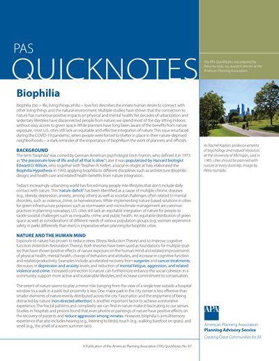 Cover of PAS QuickNotes 87: Biophilia