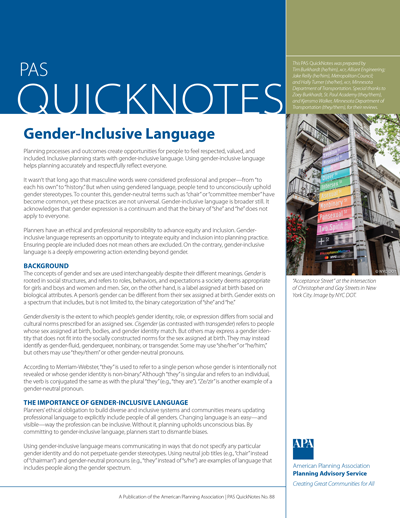 Cover of PAS QuickNotes 88: Gender-Inclusive Language