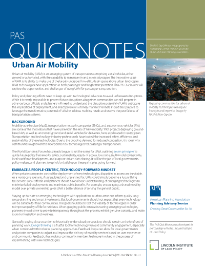 Cover of PAS QuickNotes 91: Urban Air Mobility