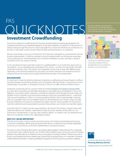 Cover of PAS QuickNotes 92: Investment Crowdfunding