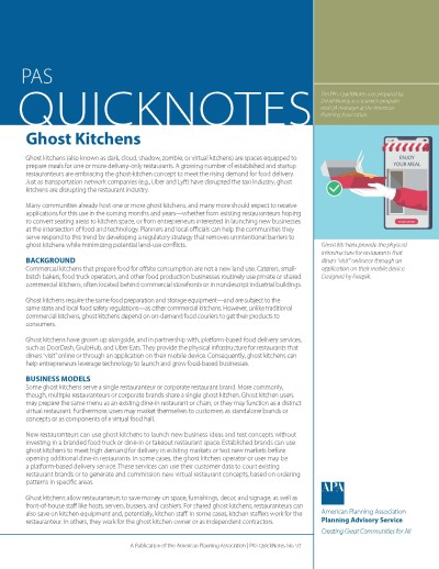 Cover of PAS QuickNotes 93: Ghost Kitchens