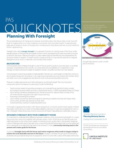 Cover of PAS QuickNotes 94: Planning With Foresight