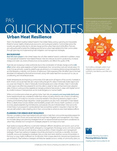Cover of PAS QuickNotes 95: Urban Heat Resilience