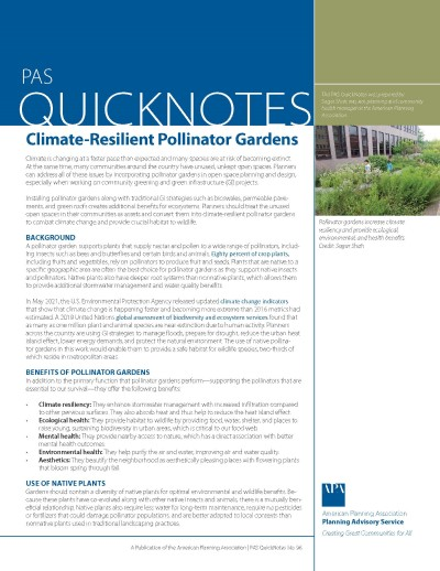 Cover of PAS QuickNotes 96: Climate-Resilient Pollinator Gardens