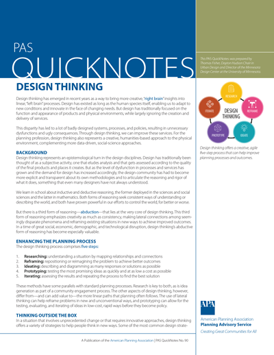 Cover of PAS QuickNotes 90: Design Thinking.