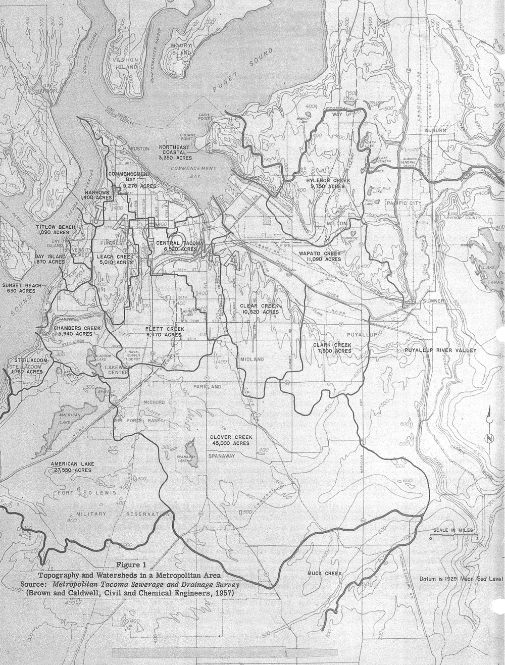 Figure 1.  Topography and Watersheds in a Metropolitan Area. Source: Metropolitan Tacoma Sewerage and Drainage Survey (Brown and Caldwell, Civil and Chemical Engineers, 1957).