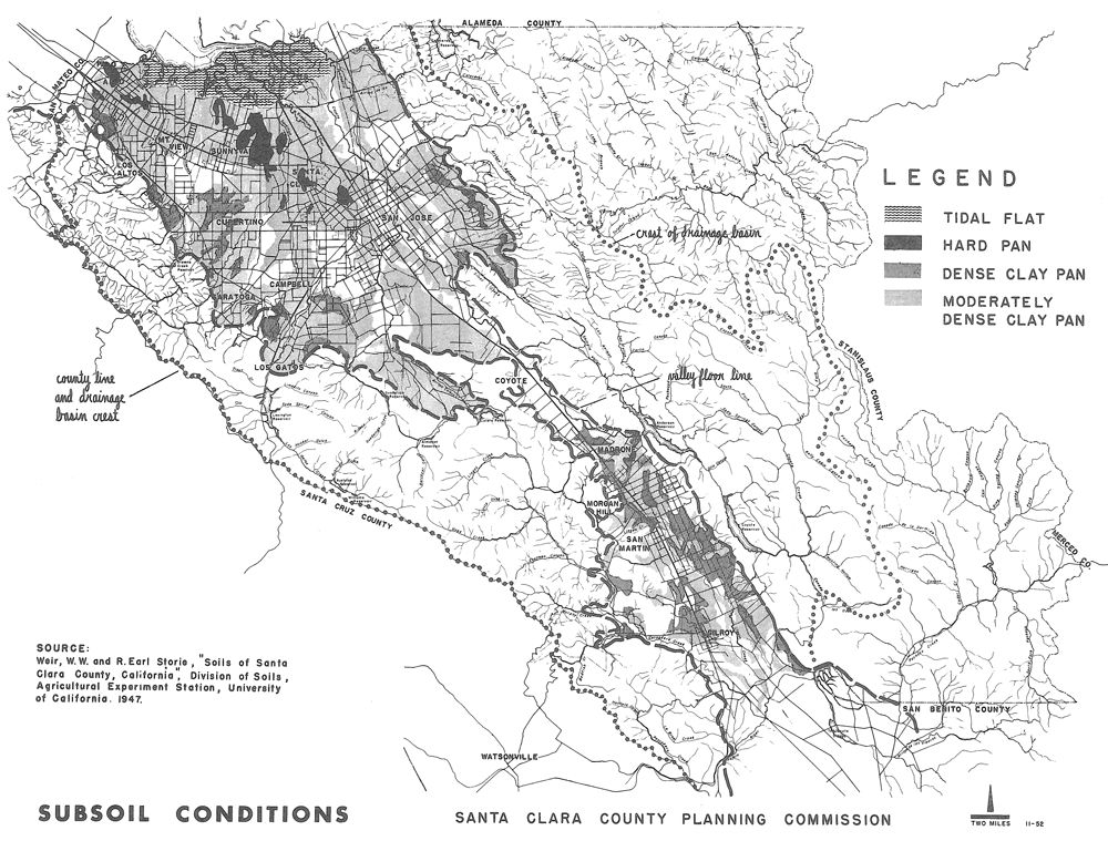 "Figure 2. Subsoil Conditions. Source: Weir, W.W., and R. Earl Storie, ""Soils of Santa Clara County, California,"" Division of Soils, Agricultural Experiment Station, University of California, 1947."