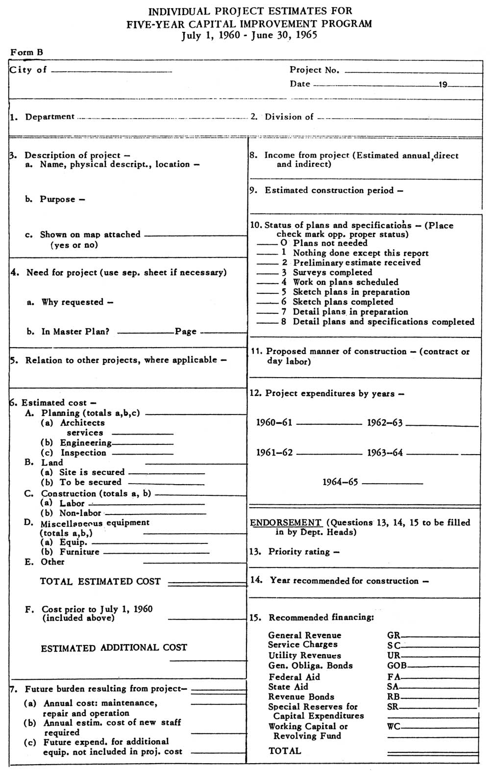 PAS Report 151, Figure B: Individual Project Assessments for Five-Year Capital Improvement Program, July 1, 1960–June 30, 1965.