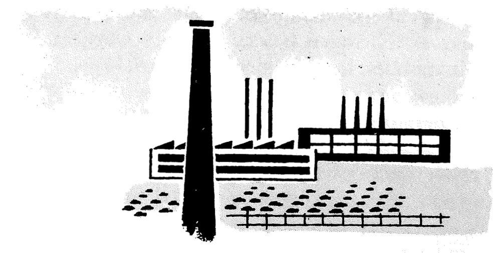 PAS Report 79, Figure 3. Line drawing of factory with smokestack.