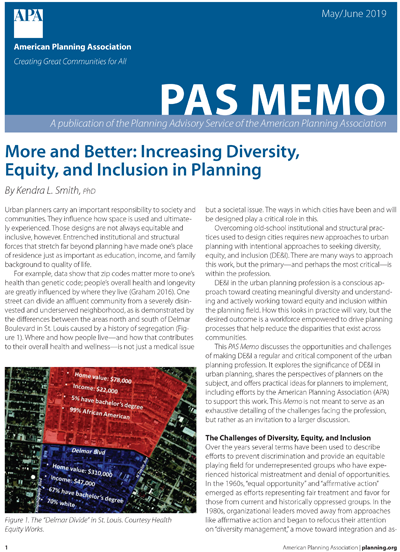 Cover of the May-June issue of PAS Memo: More and Better: Increasing Diversity, Equity, and Inclusion in Planning