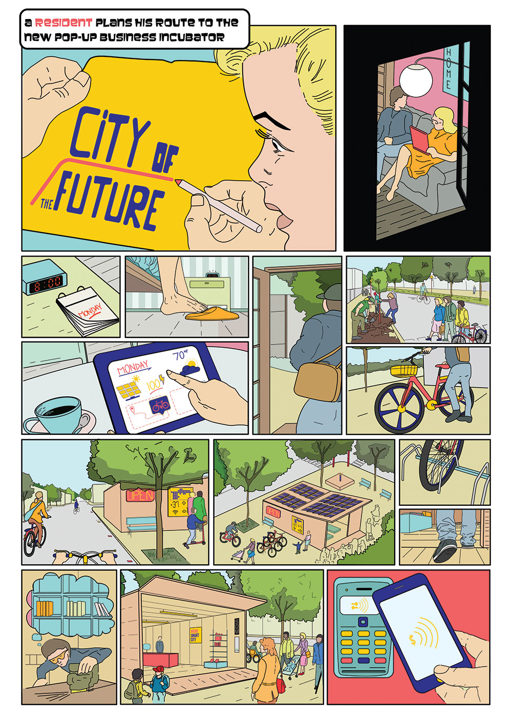 A page from a graphic novel developed for the city of West Hollywood explains how technology can facilitate a seamless mobility experience in West Hollywood through better information, connectivity between public and private transport modes, and payment options.