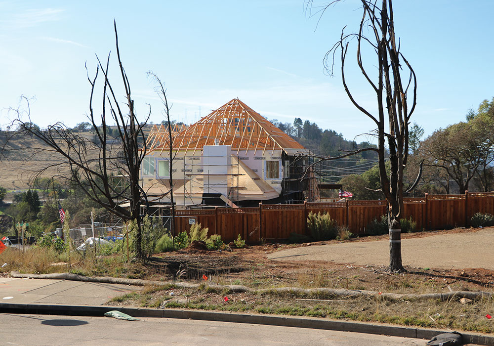 Rebuilding of homes is under way in Santa Rosa after the 2017 Tubbs Fire. The city's original Housing Action Plan has had to evolve; an urgency ordinance helped streamline the permitting process in the rebuild area. Photo courtesy City of Santa Rosa.