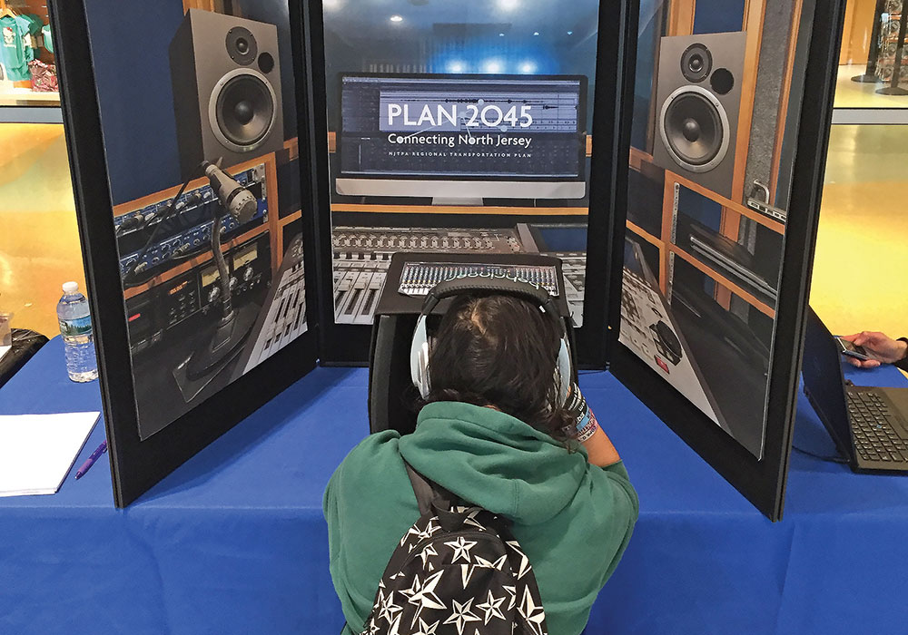 "The New Jersey Transportation Planning Authority's Plan 2045 interactive ""radio station"" booth gave 200 kids and teens a chance to talk about transportation's future. Photo courtesy New Jersey Transportation Planning Authority."
