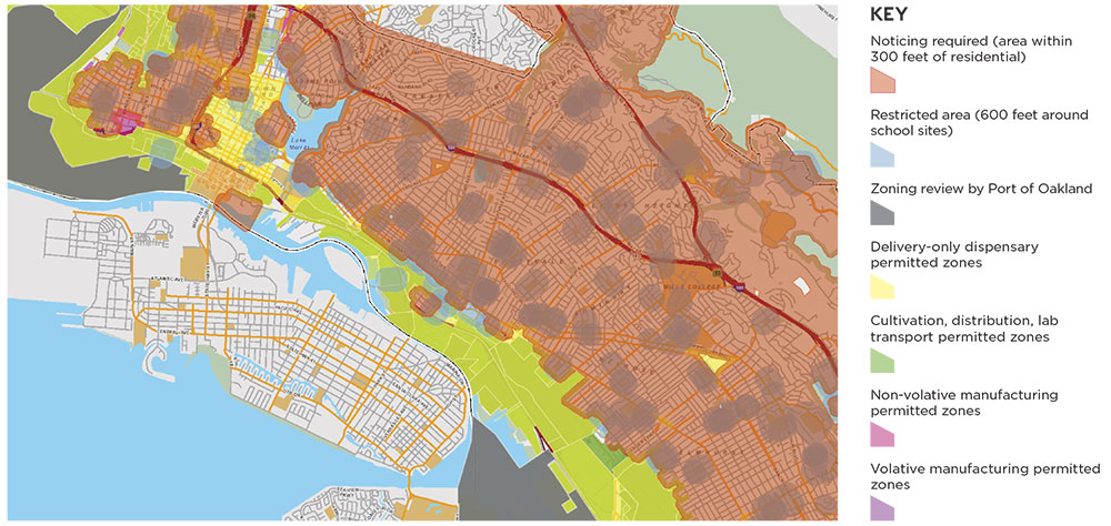 """This """"Green Zone"""" map dovetails with its existing zoning code, with restrictions for each area as noted below. Right now most of the cannabis businesses are located in industrial zones."""