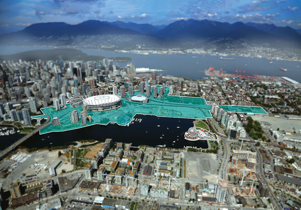 Aerial view of downtown Vancouver, with the Northeast False Creek planning area highlighted. Northeast False Creek makes up about 10 percent of the city's downtown peninsula. Photo courtesy City of Vancover.