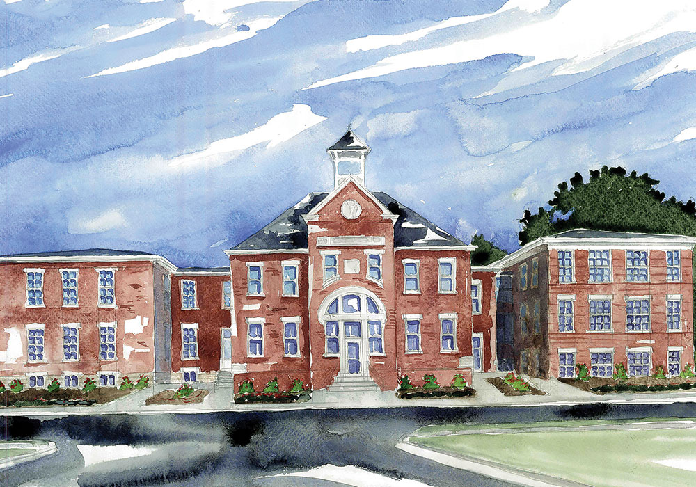 Watercolor of Parkland Scholar House. Painting by Adam Wisler.