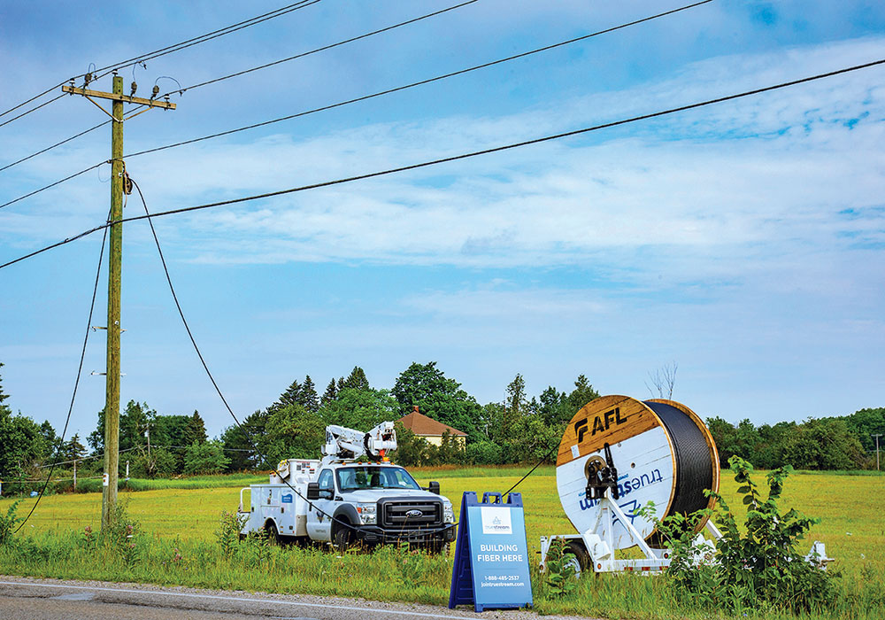 Crews for Truestream, Great Lakes Energy's new fiber network, work to install cables in rural Emmet County, Michigan. The project will affect more than 13,000 rural residents and businesses who have limited access to high-speed internet and voice services. Photo courtesy Great Lakes Energy.
