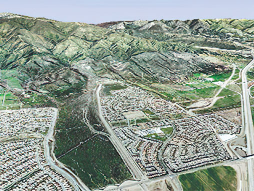 Rancho Cucamonga, California, restricts development to the periphery of the San Sevaine Wash at the foot San Gabriel Mountains. Photo courtesy Esri ArcGis Explorer, Alluvial Task Force/California State University, Santa Barbara.