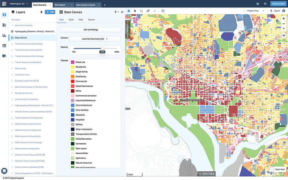 UrbanFootprint has out-of-the-box, nationwide land-use details at the parcel scale. Users can build existing conditions reports, create maps, and explore future scenarios. Courtesy UrbanFootprint.