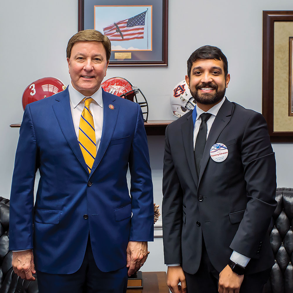 Rajiv Kumar Myana poses with U.S. Rep. Mike Rogers (R-Ala.) after a congressional meeting. American Planning Association photo.
