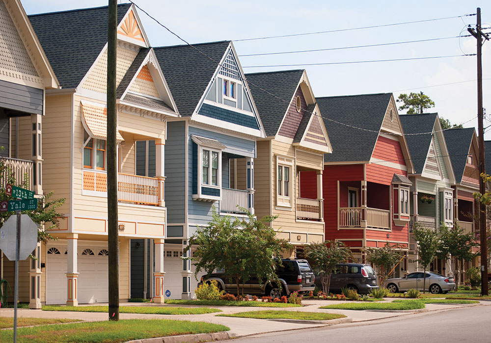 Today's approval process in the historic Houston Heights neighborhood aims to keep larger homes from overwhelming smaller ones. The Heights gets its name from its lofty position above sea level — 62 feet, high ground for a city that is mostly under sea level. Getty Images photo.