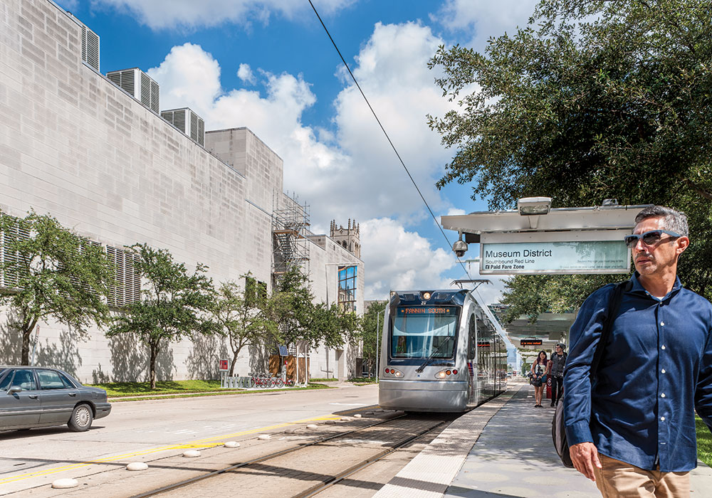 Houston is known for its Texas-sized highways, but it also wants to be recognized for multimodal efforts like pedestrian and bike infrastructure and light rail. Photos by Patrick Insull/Shutterstock and Paul Hester.