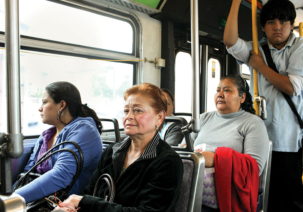Public transportation is the only option for many women, even if routes aren't convenient for their commutes and off-peak service is not ideal for errands. Photo by Monica Almeida/The New York Times.