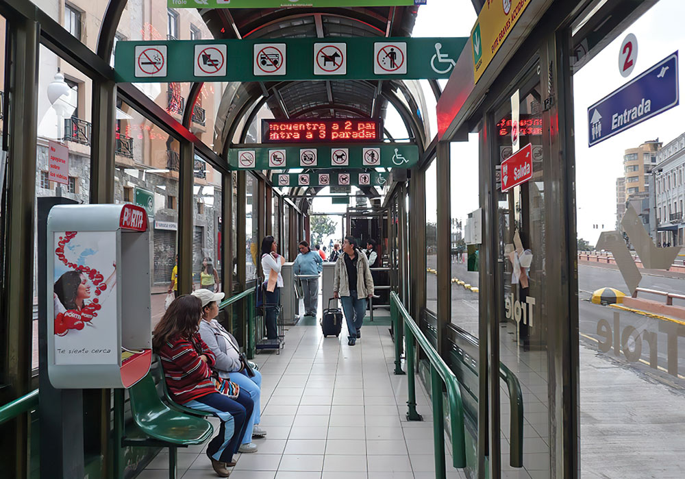 Infrastructure changes can help make transit safer. Quito, Ecuador, installed glass bus shelters to increase the line of sight in all directions and eliminate blind spots. Photo by Karl Fjellstrom, Far East Mobility.