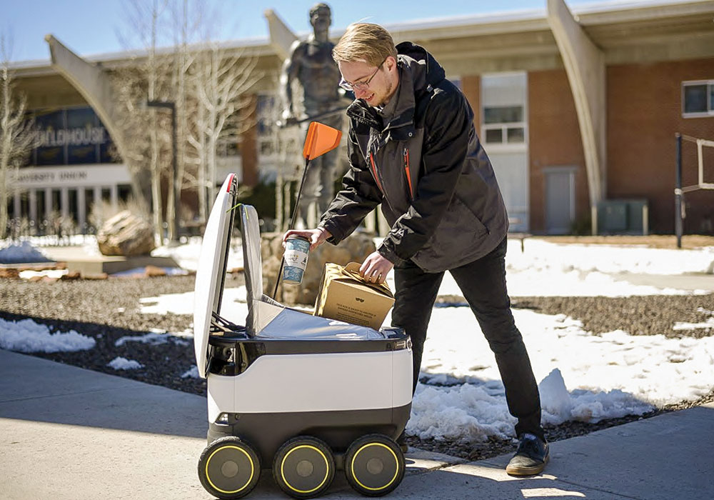 Starship Technologies says George Mason University in Fairfax, Virginia, is the first campus in the country to incorporate robots into its student dining plan.