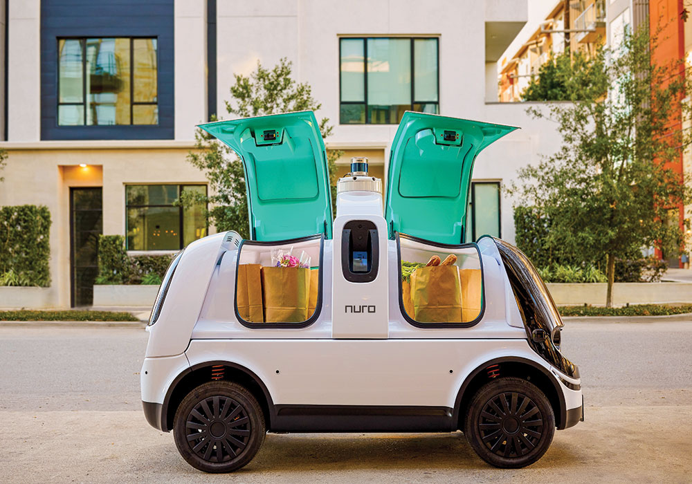 The self-driving grocery delivery vehicle Nuro R2 has brought groceries to Kroger customers in an area of Scottsdale, Arizona, since 2018. Now it's offering its service in several Houston zip codes.