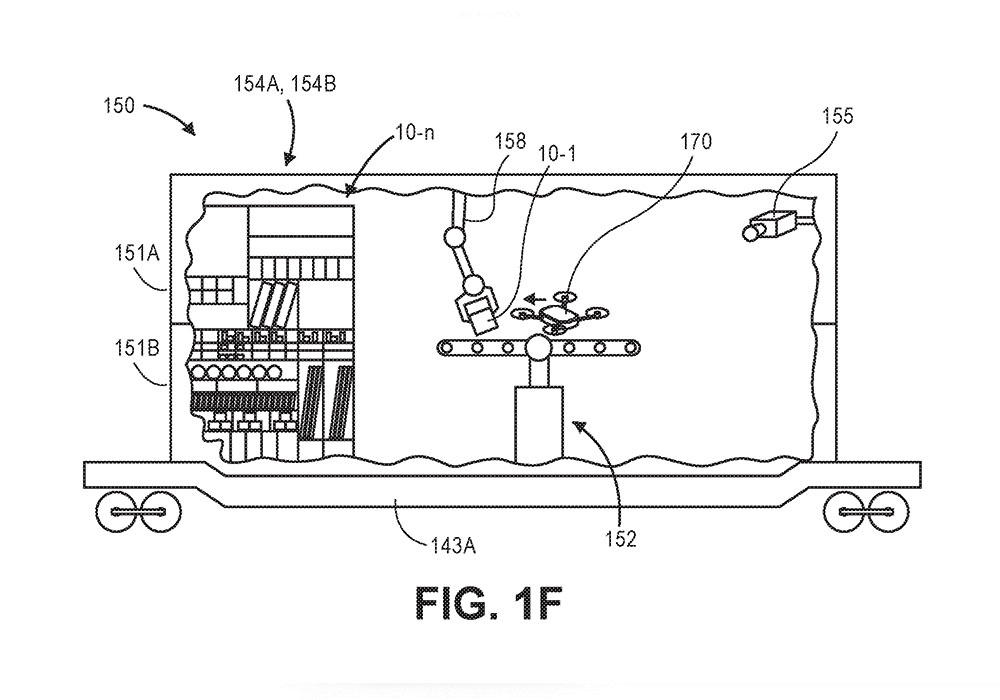 Amazon's patent application for demand-responsive distribution envisions intermodal carriers coupled to locomotives, container ships, and road tractors, with systems to load and launch drones for deliveries and retrieve them when they're done.