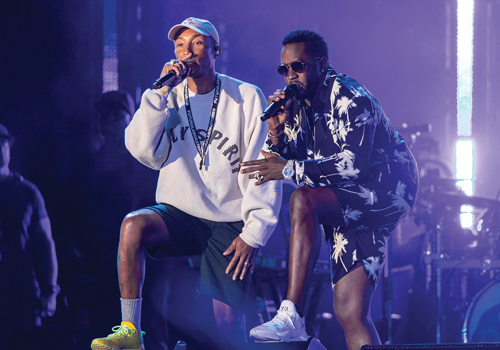Virginia Beach local and Something in the Water founder Pharrell Williams performs with Diddy last April during the inaugural festival. Photo by Daniel Deslover/Zuma Wire.