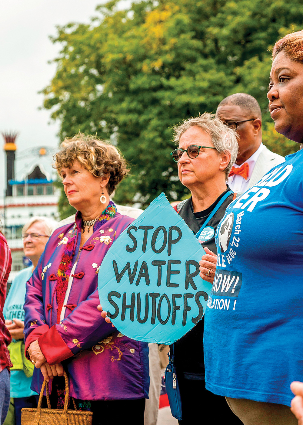 Water access in Detroit has been the subject of advocacy efforts and protests since the city began widespread service shutoffs six years ago due to a historic bankruptcy. Photo by Jim West/Alamy.