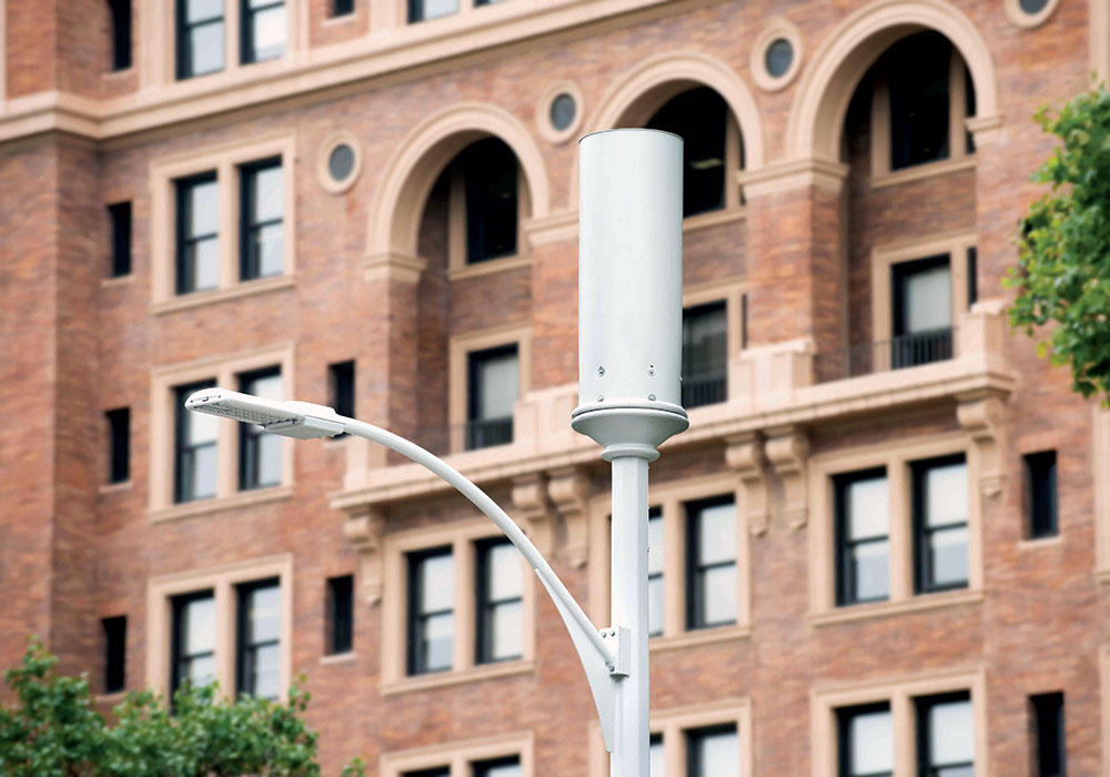 A small cell on a light post in Pittsburgh. Photo courtesy Crown Castle.
