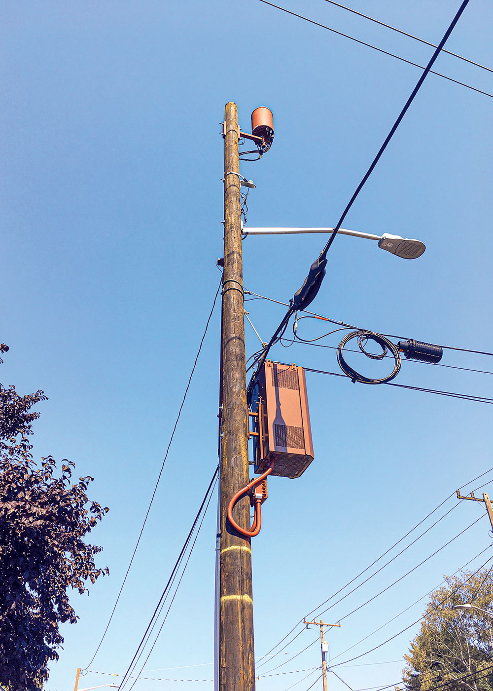 5G Installation Option: Mounted on a combination lamp post and telephone pole in Seattle. Photo courtesy Seattle Department of Transportation.