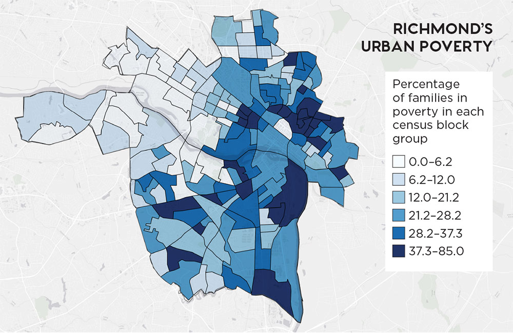 Census Block Source: American Community Survey 2011–2015; Maps: Integrating Satellite and Ground Measurements for Predicting Locations of Extreme Urban Heat, courtesy Jeremy Hoffman.