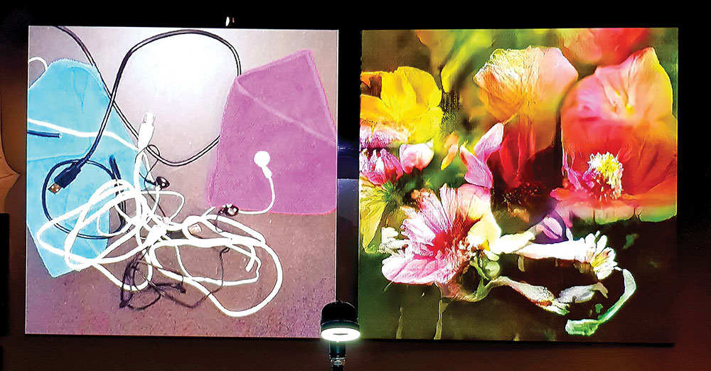 Artist Memo Akten illustrates how computer vision algorithms can only interpret the world based on what they have been trained to see before — in this case, everything is flowers. From Learning to See (2017), part of the Barbican's More Than Human Exhibit (2019). Photo courtesy the artist.
