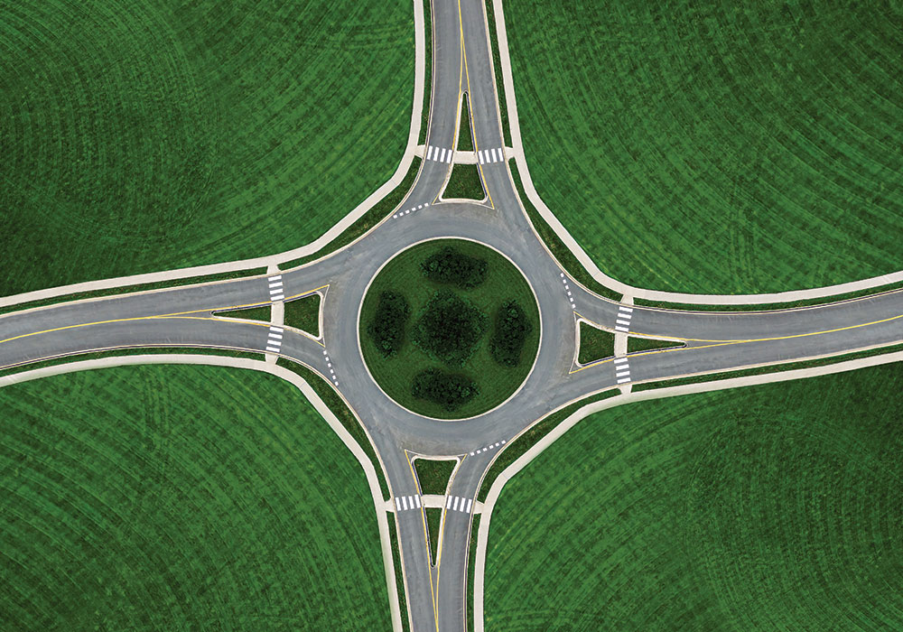 A drone's-eye view of a roundabout. Photo by Shaunl.