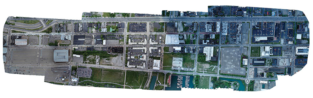 Quantifly's reassembled UAV images for the Detroit riverfront parking survey captured every car counted by lot, block, time, and date, as well as parking occupancy to capacity counts. Photo courtesy Quantifly.