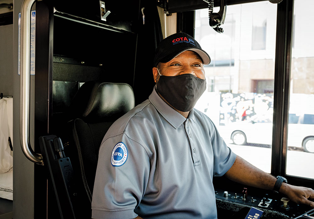To help keep employees healthy, COTA has distributed masks, gloves, and cleaning solution. The agency has also spent more than $1.6 million in federal funds on plastic barriers that protect drivers. Photo courtesy COTA.