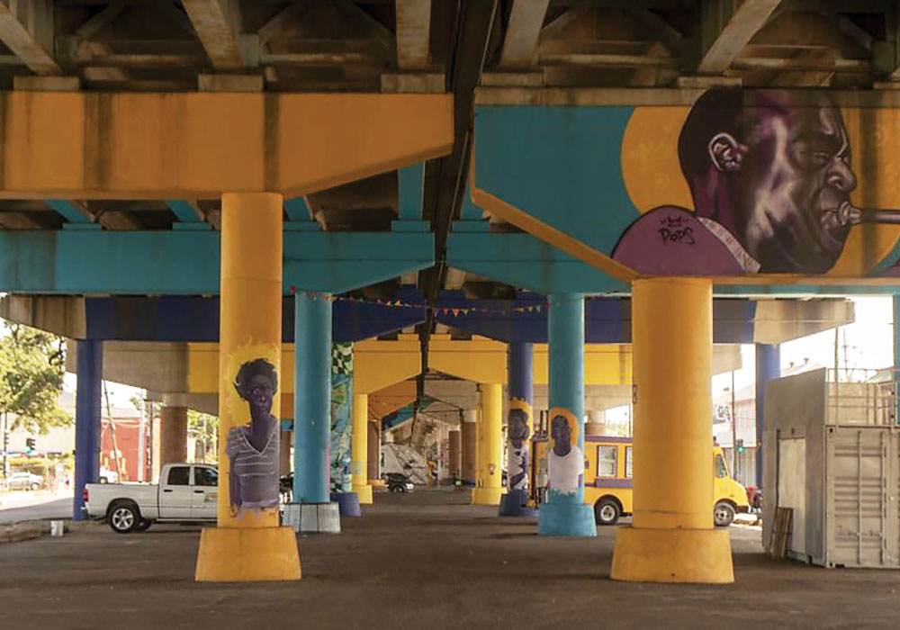 Under highway 110, the Claiborne Corridor pillars have been painted to honor luminaries from New Orleans's African-American community. Photo by Jamell Tate