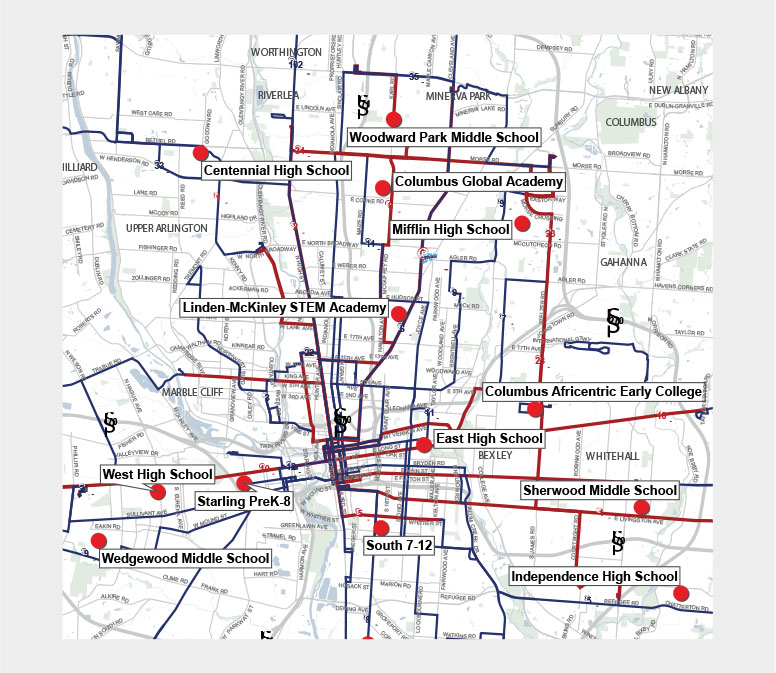 While some bus routes were reduced due to low usage, COTA made sure to maintain lines that provided access to free lunches at Columbus-area schools.