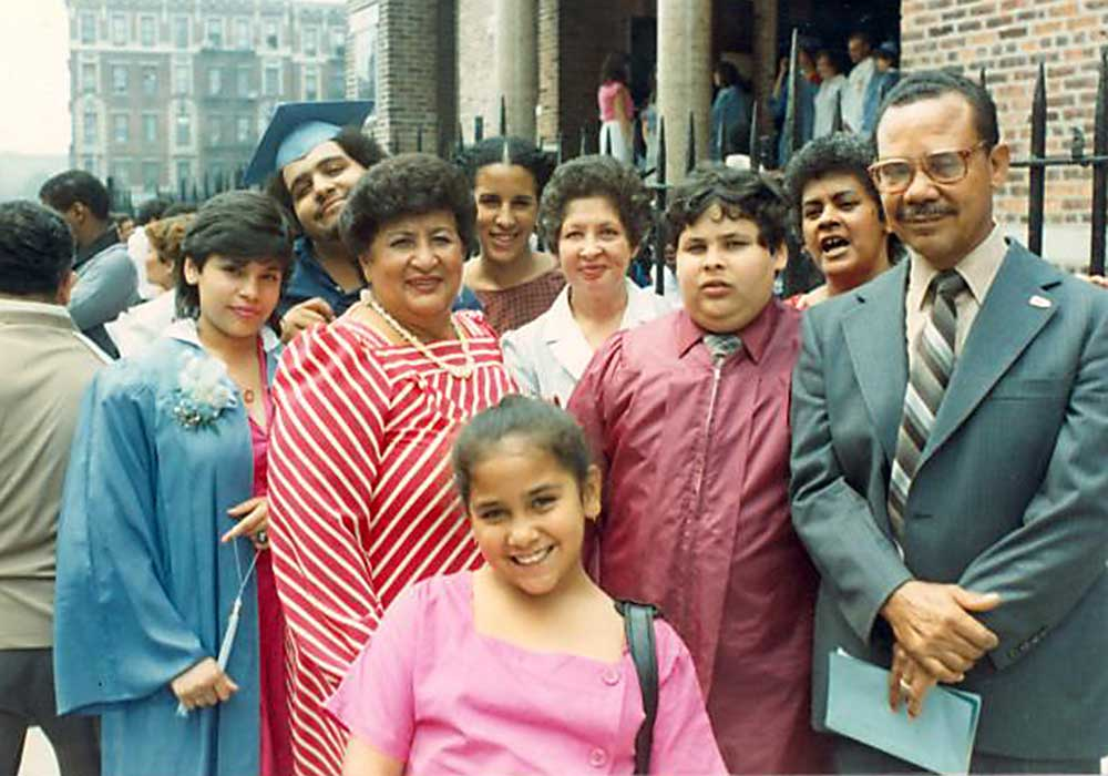Evelina López Antonetty (center in red striped dress) with her sister Lillian López, among others. Photo courtesy Center for Puerto Rican Studies Library & Archives, Hunter College, CUNY