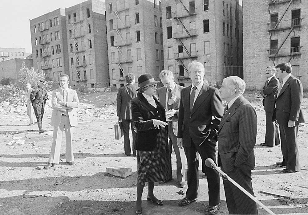 Patricia Roberts Harris, with Jimmy Carter and New York Mayor Abraham Beame on a tour of the South Bronx. Photo courtesy NARA