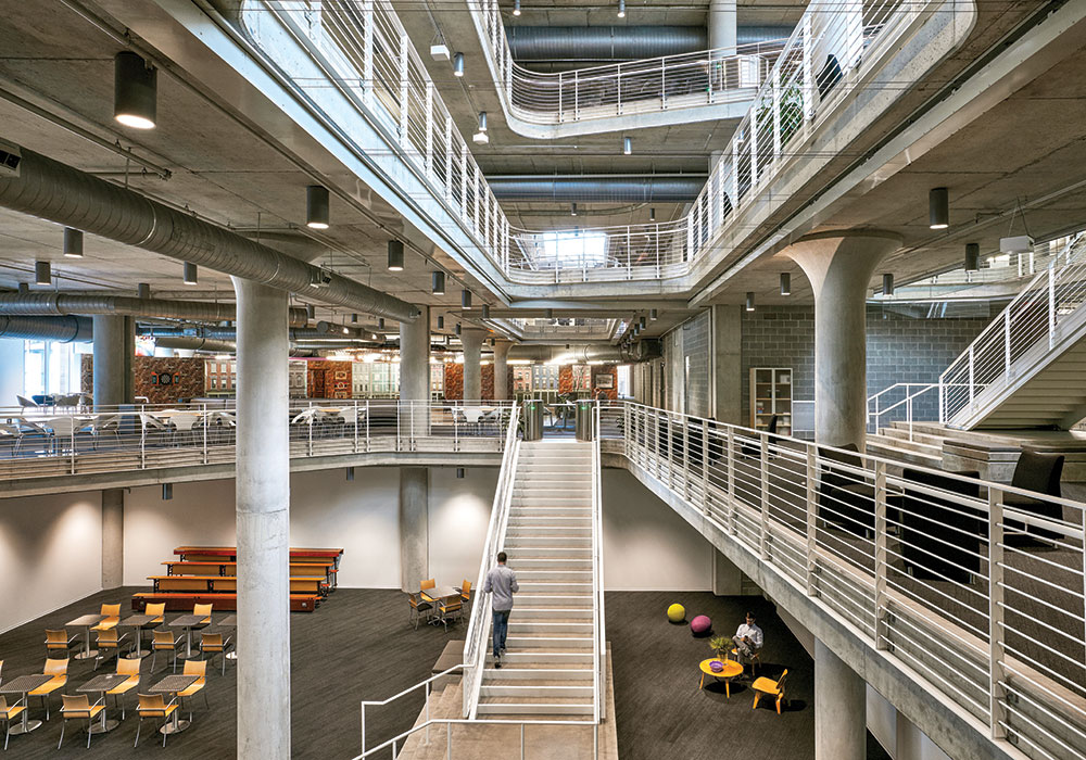 Architecture firm Gensler used a ''digital twin'' model to design an adaptable building in downtown Cincinnati with below- and above-ground parking levels, four office levels, and ground-floor retail. As the need for office space expands, the above-ground parking levels can be converted to that use. Photo ©Garrett Rowland, courtesy Gensler.